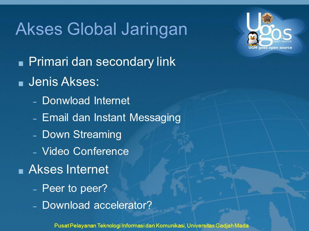 Pusat Pelayanan Teknologi Informasi dan Komunikasi, Universitas Gadjah Mada Akses Global Jaringan Primari dan secondary link Jenis Akses: Donwload Int