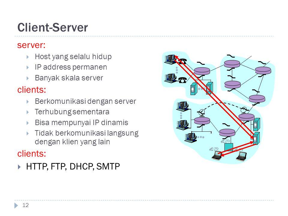 Client-Server 12 server:  Host yang selalu hidup  IP address permanen  Banyak skala server clients:  Berkomunikasi dengan server  Terhubung semen