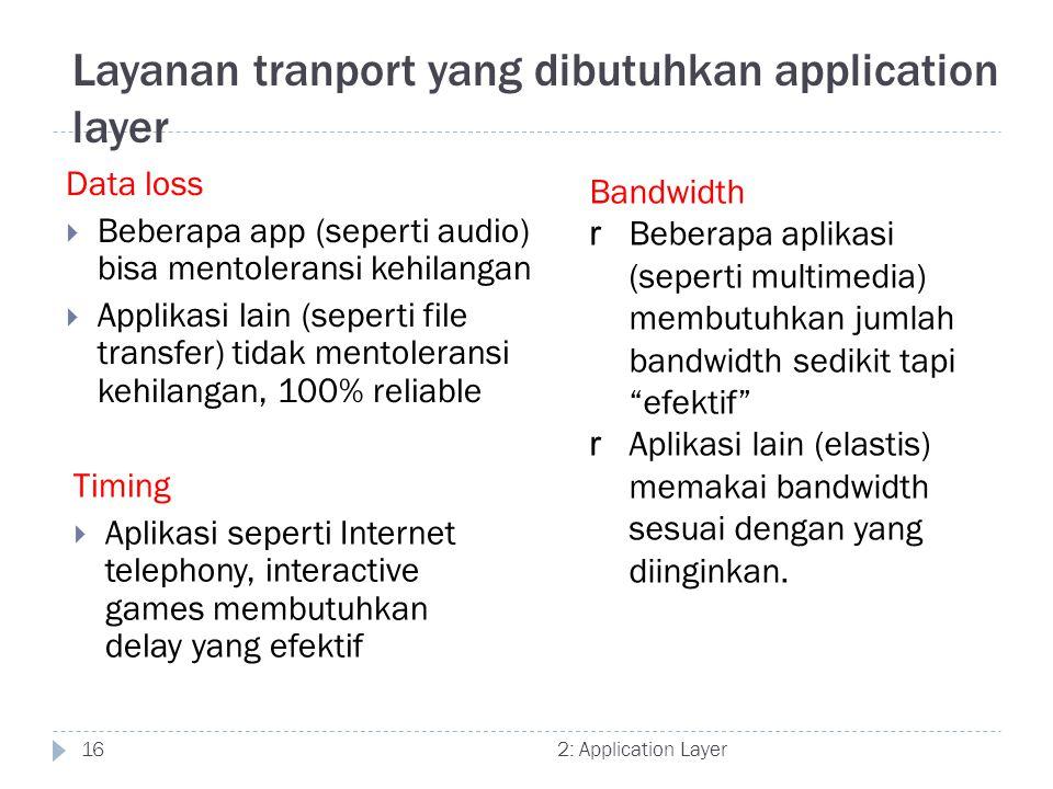 2: Application Layer16 Layanan tranport yang dibutuhkan application layer Data loss  Beberapa app (seperti audio) bisa mentoleransi kehilangan  Appl