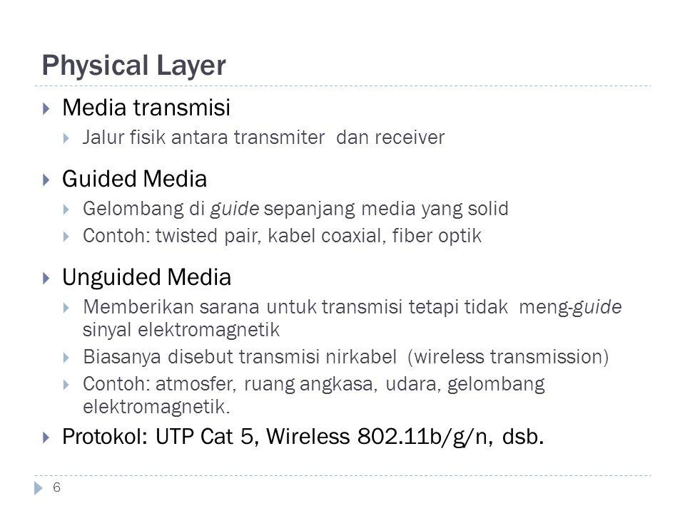 Physical Layer 6  Media transmisi  Jalur fisik antara transmiter dan receiver  Guided Media  Gelombang di guide sepanjang media yang solid  Conto