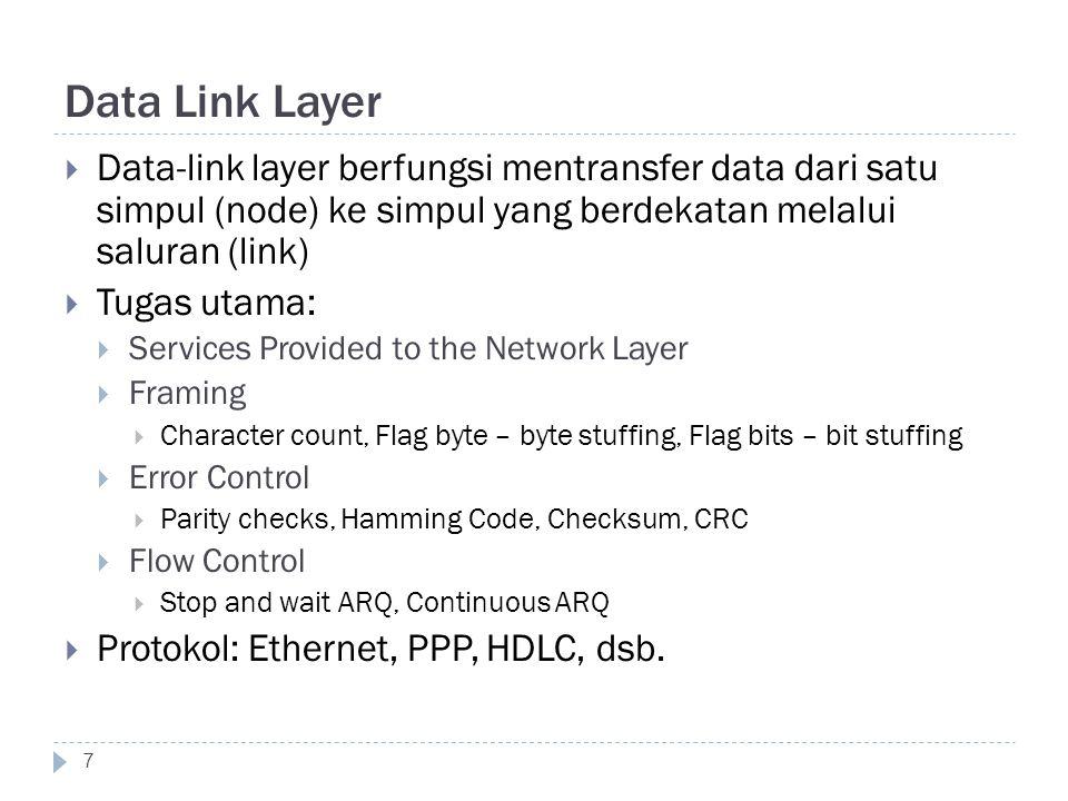 Data Link Layer 7  Data-link layer berfungsi mentransfer data dari satu simpul (node) ke simpul yang berdekatan melalui saluran (link)  Tugas utama: