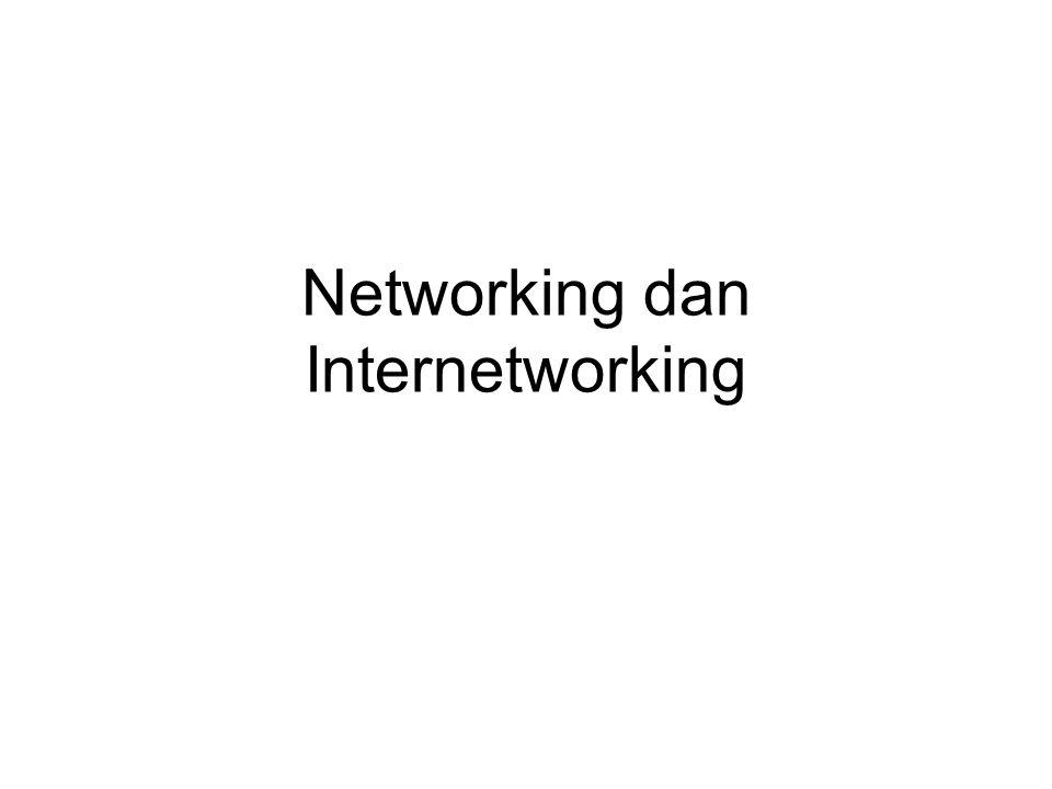 Intranet Jaringan bersifat lokal atau private dan internal Layanan sama dengan Internet: –Email (smtp) –Web (http) –Transfer file (ftp) –Chatting –Video conference –Audio and Video Streaming Dengan demikian protokol yang digunakan di intranet juga sama dengan Internet, yaitu TCP/IP Selain Domain Name Service (DNS) untuk transformasi IP Address ke nama domain dan sebaliknya, Firewall dan Gateway jika intranet akan disambungkan ke Internet