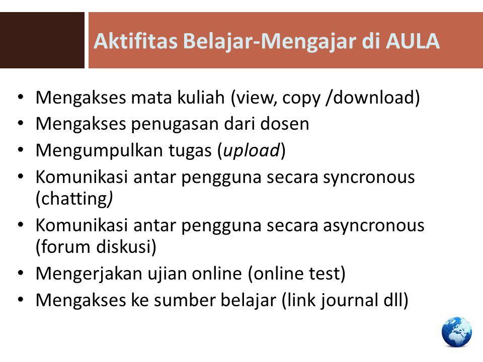 Aktifitas Belajar-Mengajar di AULA Mengakses mata kuliah (view, copy /download) Mengakses penugasan dari dosen Mengumpulkan tugas (upload) Komunikasi