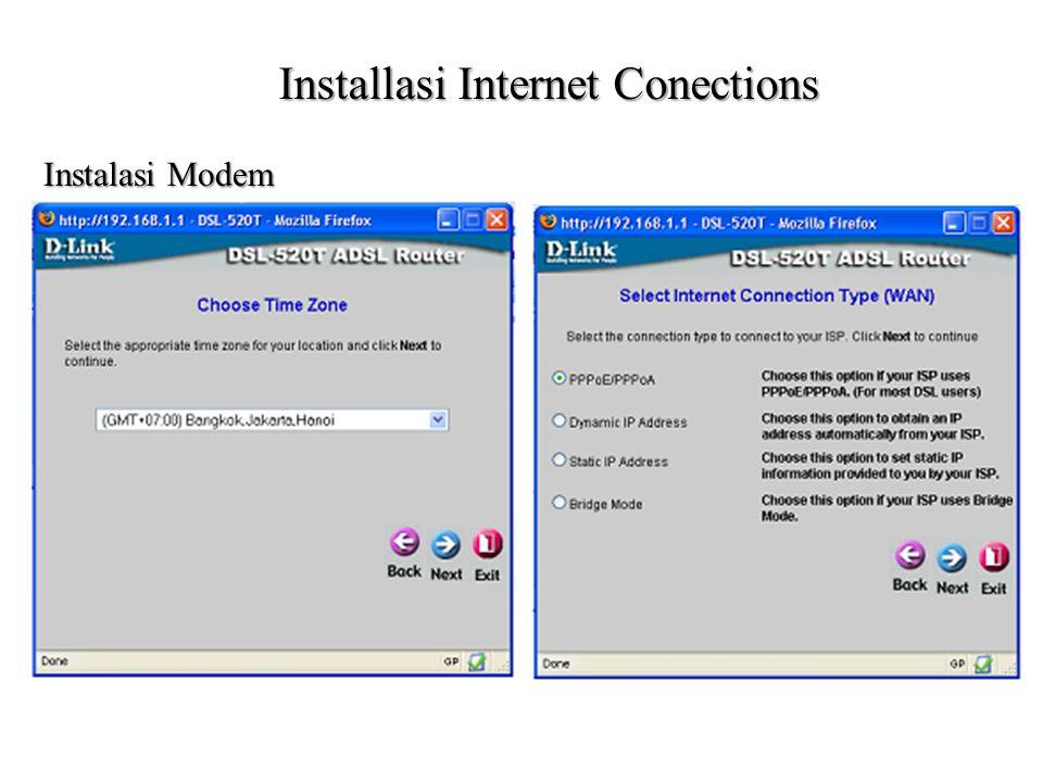 Installasi Internet Conections Instalasi Modem
