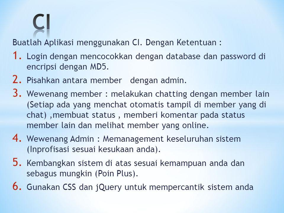 Buatlah Aplikasi menggunakan CI. Dengan Ketentuan : 1.
