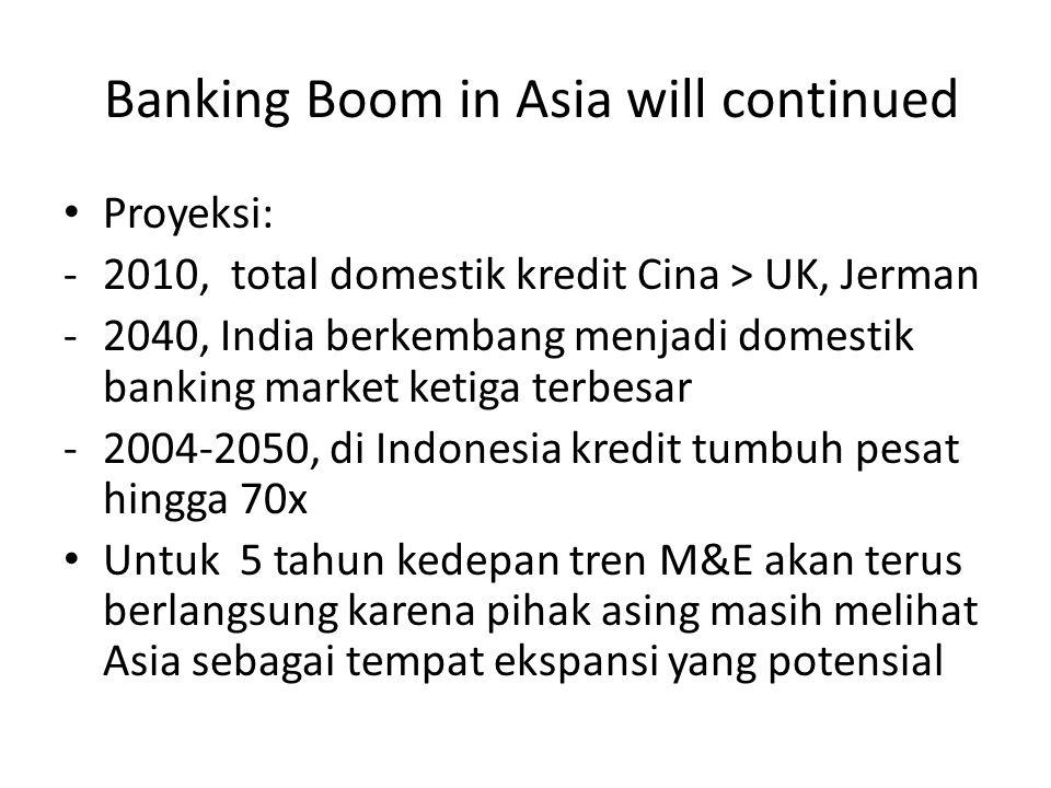 Banking Boom in Asia will continued Proyeksi: -2010, total domestik kredit Cina > UK, Jerman -2040, India berkembang menjadi domestik banking market ketiga terbesar -2004-2050, di Indonesia kredit tumbuh pesat hingga 70x Untuk 5 tahun kedepan tren M&E akan terus berlangsung karena pihak asing masih melihat Asia sebagai tempat ekspansi yang potensial