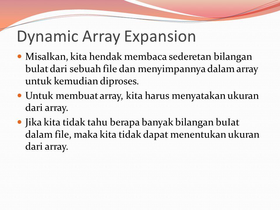 Dynamic Array Expansion Misalkan, kita hendak membaca sederetan bilangan bulat dari sebuah file dan menyimpannya dalam array untuk kemudian diproses.