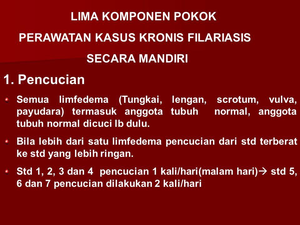 1. Pencucian Semua limfedema (Tungkai, lengan, scrotum, vulva, payudara) termasuk anggota tubuh normal, anggota tubuh normal dicuci lb dulu. Bila lebi