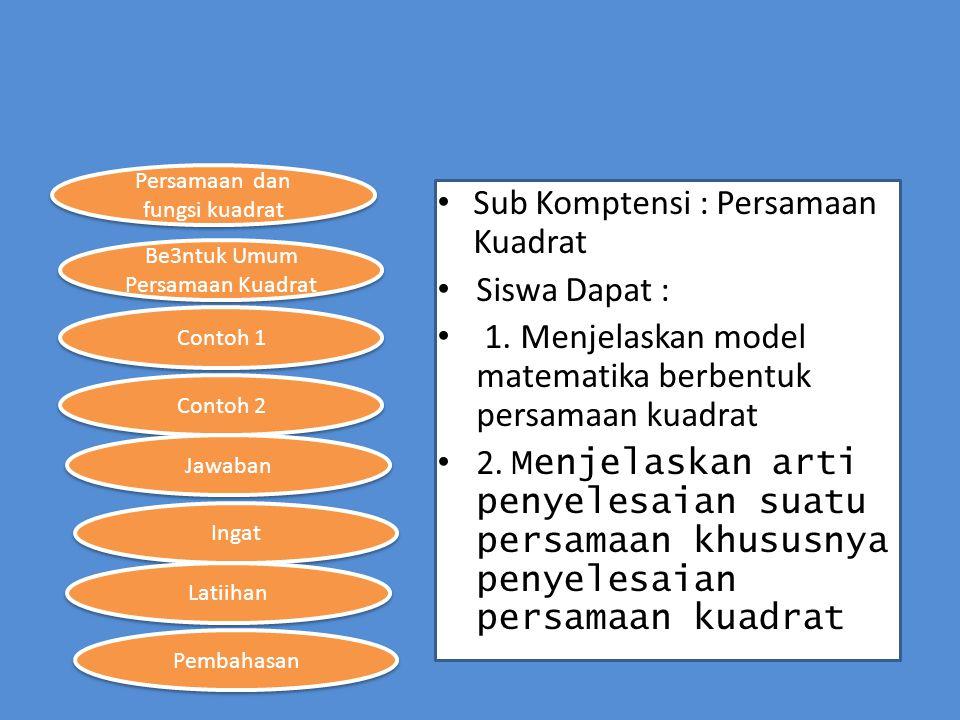 Persamaan dan fungsi kuadrat Be3ntuk Umum Persamaan Kuadrat Contoh 1 Contoh 2 Ingat Jawaban Latiihan Pembahasan Sub Komptensi : Persamaan Kuadrat Sisw
