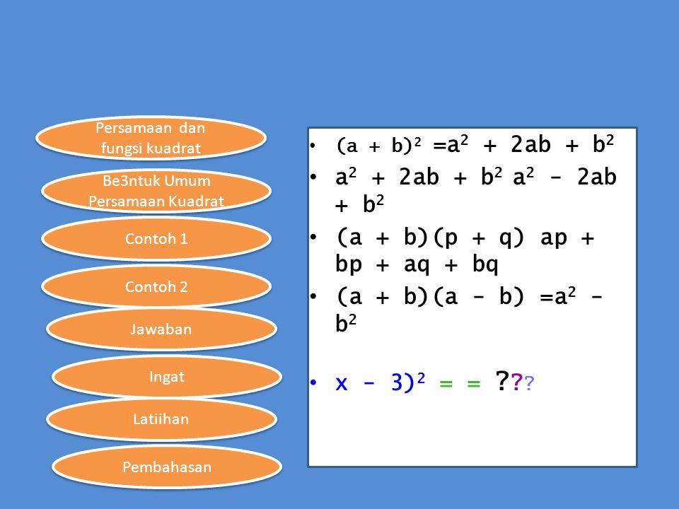 Persamaan dan fungsi kuadrat Be3ntuk Umum Persamaan Kuadrat Contoh 1 Contoh 2 Ingat Jawaban Latiihan Pembahasan (a + b) 2 =a 2 + 2ab + b 2 a 2 + 2ab +