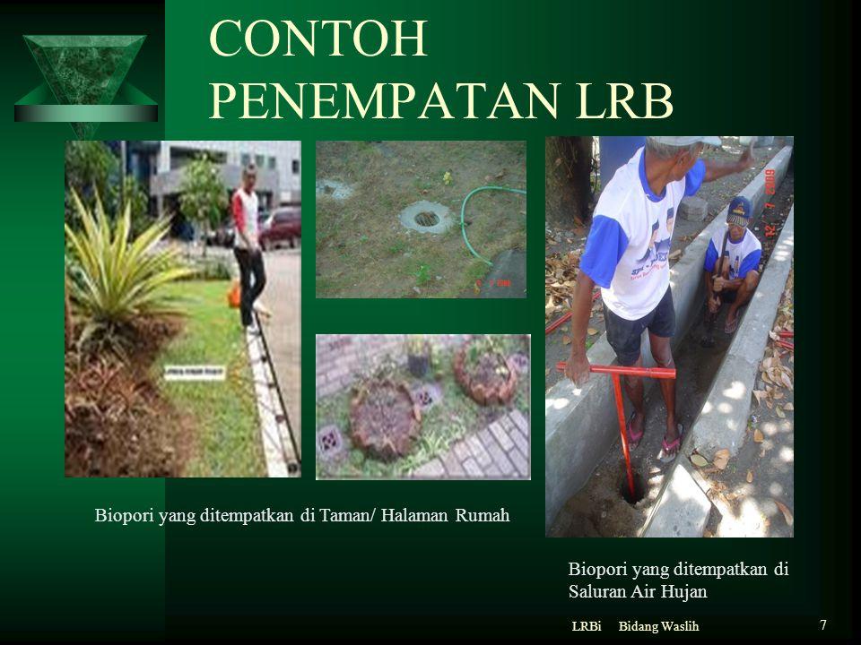 CONTOH PENEMPATAN LRB Bidang WaslihLRBi 7 Biopori yang ditempatkan di Taman/ Halaman Rumah Biopori yang ditempatkan di Saluran Air Hujan