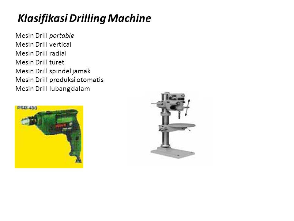 Klasifikasi Drilling Machine Mesin Drill portable Mesin Drill vertical Mesin Drill radial Mesin Drill turet Mesin Drill spindel jamak Mesin Drill prod