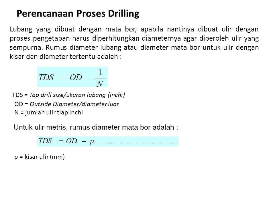 Perencanaan Proses Drilling Lubang yang dibuat dengan mata bor, apabila nantinya dibuat ulir dengan proses pengetapan harus diperhitungkan diameternya agar diperoleh ulir yang sempurna.