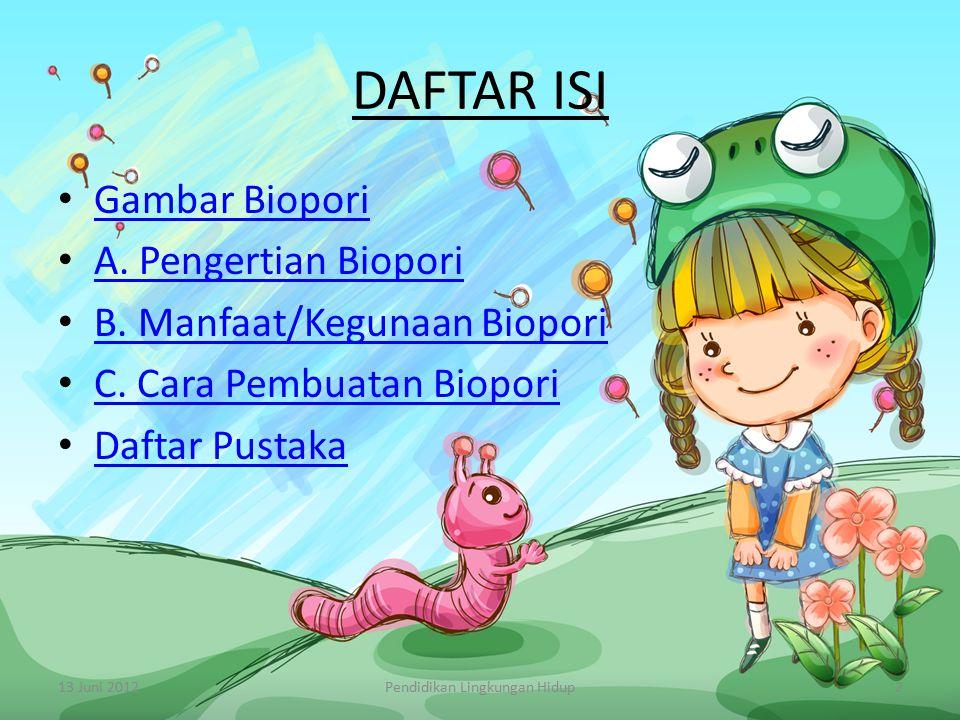 DAFTAR ISI Gambar Biopori A. Pengertian Biopori B. Manfaat/Kegunaan Biopori C. Cara Pembuatan Biopori Daftar Pustaka 13 Juni 2012Pendidikan Lingkungan