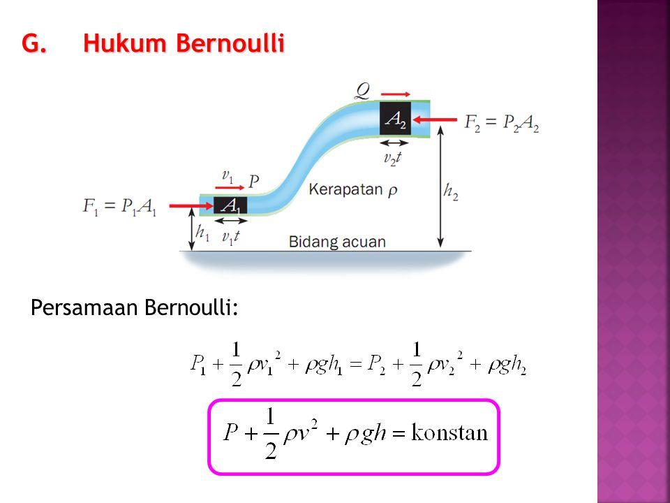 G.Hukum Bernoulli Persamaan Bernoulli: