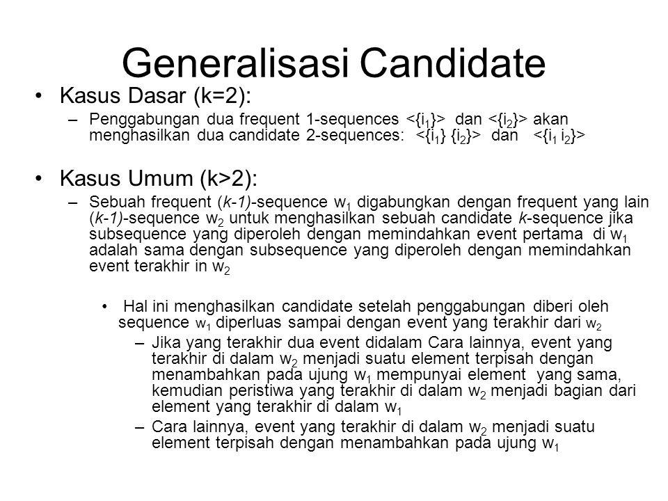 Generalisasi Candidate Kasus Dasar (k=2): –Penggabungan dua frequent 1-sequences dan akan menghasilkan dua candidate 2-sequences: dan Kasus Umum (k>2)