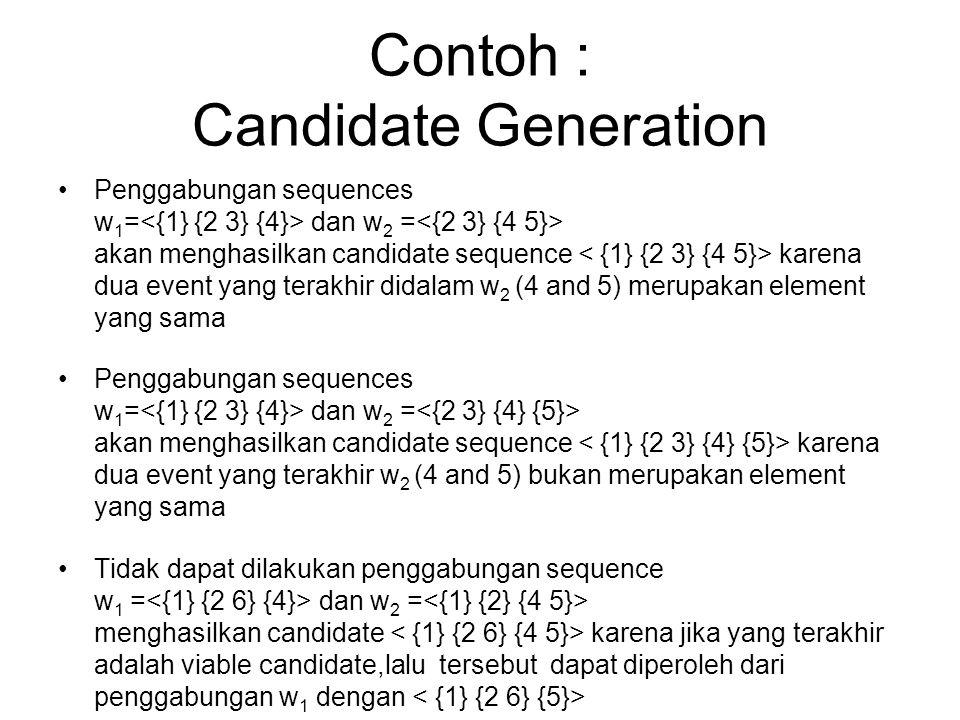 Contoh : Candidate Generation Penggabungan sequences w 1 = dan w 2 = akan menghasilkan candidate sequence karena dua event yang terakhir didalam w 2 (