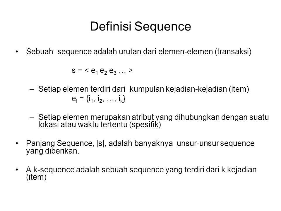 Definisi Sequence Sebuah sequence adalah urutan dari elemen-elemen (transaksi) s = –Setiap elemen terdiri dari kumpulan kejadian-kejadian (item) e i =