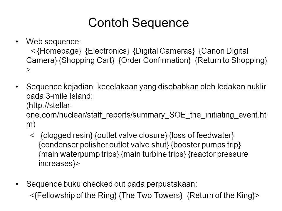 Definisi Subsequence Sebuah sequence terdapat dalam sequence lain (m ≥ n) jika terdapat integer i 1 < i 2 < … < i n maka a 1  b i1, a 2  b i1, …, a n  b in Support subsequence w didefinisikan sebagai bagian dari data sequence yang berisi w Sequential pattern adalah subsequence yang sering muncul (yaitu, support subsequence ≥ minsup) Data sequenceSubsequenceContain.