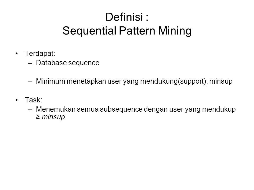 Definisi : Sequential Pattern Mining Terdapat: –Database sequence –Minimum menetapkan user yang mendukung(support), minsup Task: –Menemukan semua subs