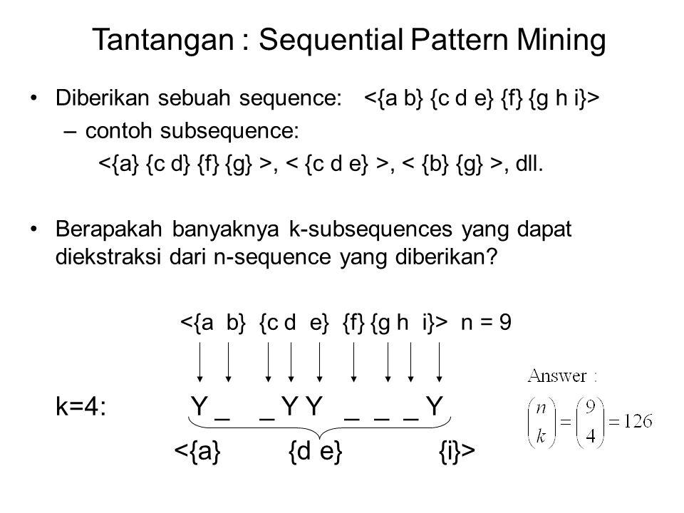 Langkah Modifikasi Candidate Pruning Without maxgap constraint: –Candidate k-sequence dikatakan pruned jika salah satunya (k-1)-subsequences adalah infrequent With maxgap constraint: –Candidate k-sequence dikatakan pruned jika salah satunya contiguous (k-1)- subsequences adalah infrequent