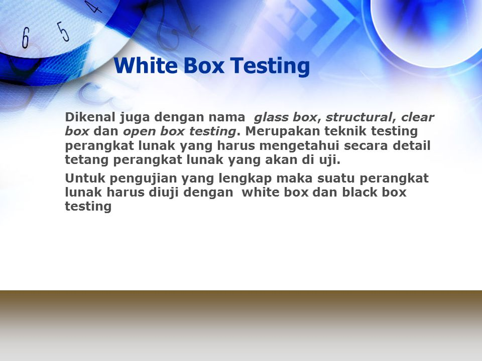 White Box Testing public static int binarySearch( int key, int[] sequence ) { int bottom = 0; int top = sequence.length - 1; int mid = 0; int keyPosition = -1; while( bottom <= top && keyPosition == -1 ) { mid = ( top + bottom ) / 2; if( sequence[ mid ] == key ) { keyPosition = mid; } else { if( sequence[ mid ] < key ) { bottom = mid + 1; } else { top = mid - 1; } return keyPosition; } 11 2 2