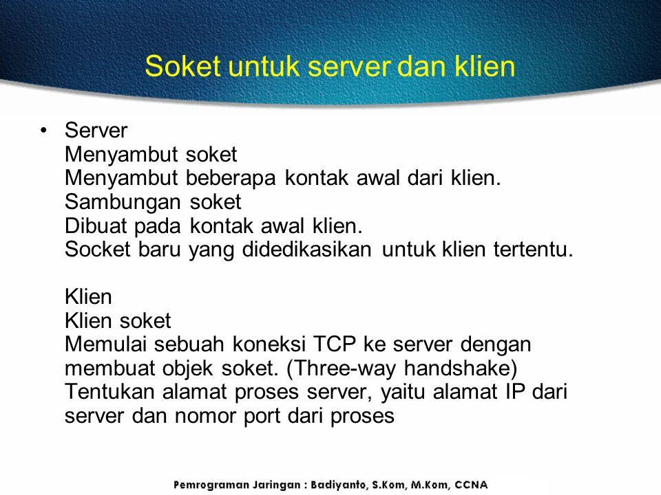 Soket untuk server dan klien Server Menyambut soket Menyambut beberapa kontak awal dari klien.
