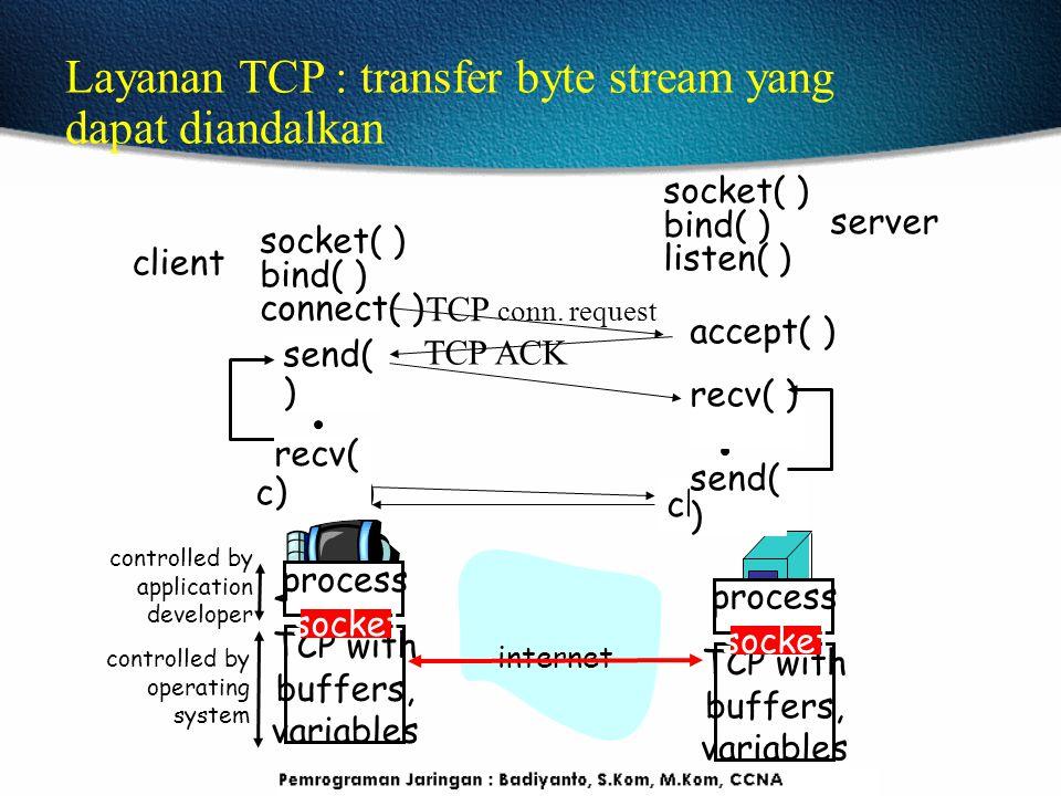 Contoh aplikasi client-server app: klien baris membaca dari standard input (inFromUser streaming), mengirim ke server melalui soket (outToServer streaming) server membaca baris dari soket baris server mengkonversi huruf besar, mengirim kembali ke klien klien membaca, cetakan diubah garis dari socket (inFromServer streaming) output stream: sequence of bytes out of process Client process client TCP socket Input stream: sequence of bytes into process Program Socket denganTCP