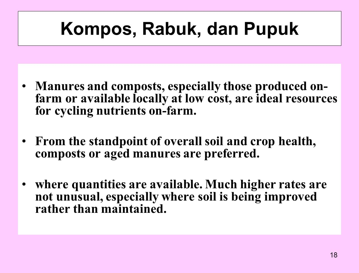 18 Manures and composts, especially those produced on- farm or available locally at low cost, are ideal resources for cycling nutrients on-farm.