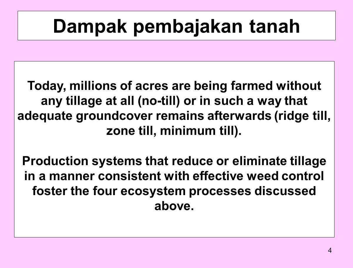 5 1.Pengolahgan tanah secara dangkal 2. Chisel plowing, not invert the soil 3.