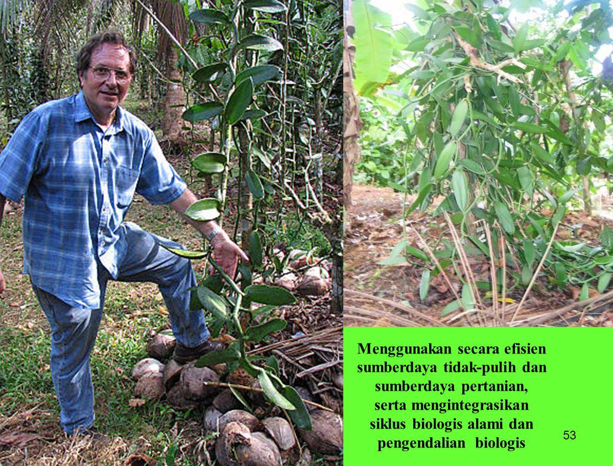 53 Menggunakan secara efisien sumberdaya tidak-pulih dan sumberdaya pertanian, serta mengintegrasikan siklus biologis alami dan pengendalian biologis