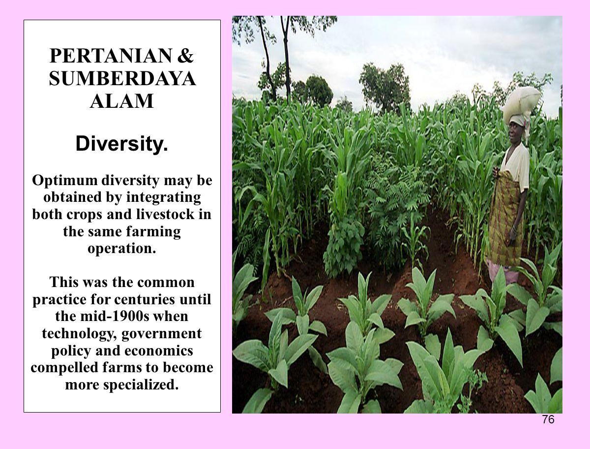 76 PERTANIAN & SUMBERDAYA ALAM Diversity.