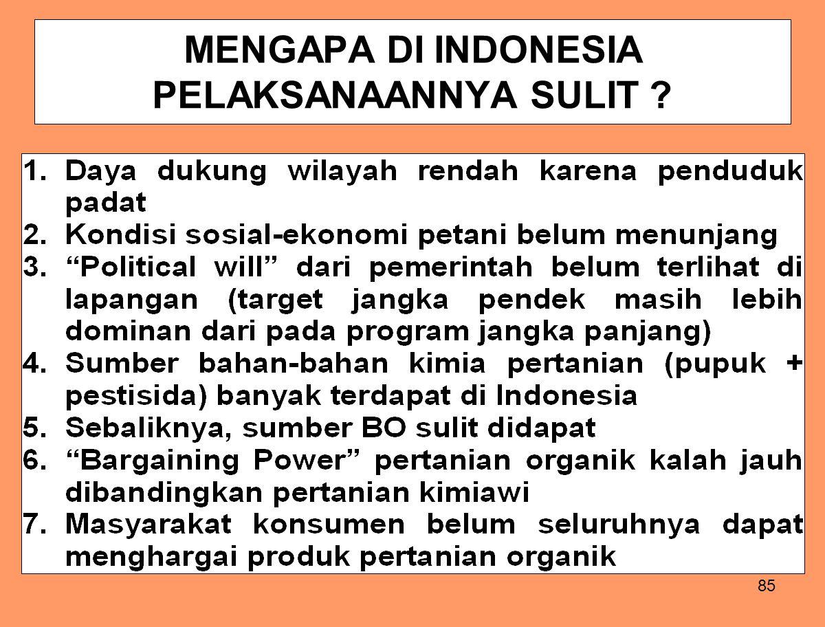 85 MENGAPA DI INDONESIA PELAKSANAANNYA SULIT ?