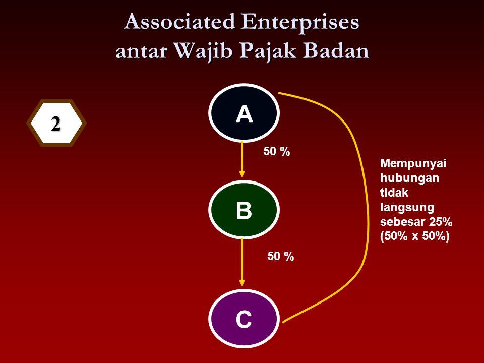 Associated Enterprises antar Wajib Pajak Badan A B 50 % C Mempunyai hubungan tidak langsung sebesar 25% (50% x 50%) 2
