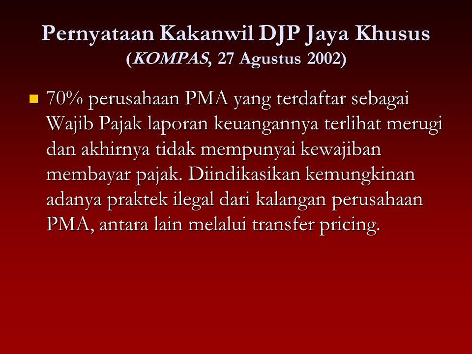 Pernyataan Kakanwil DJP Jaya Khusus (KOMPAS, 27 Agustus 2002) 70% perusahaan PMA yang terdaftar sebagai Wajib Pajak laporan keuangannya terlihat merug