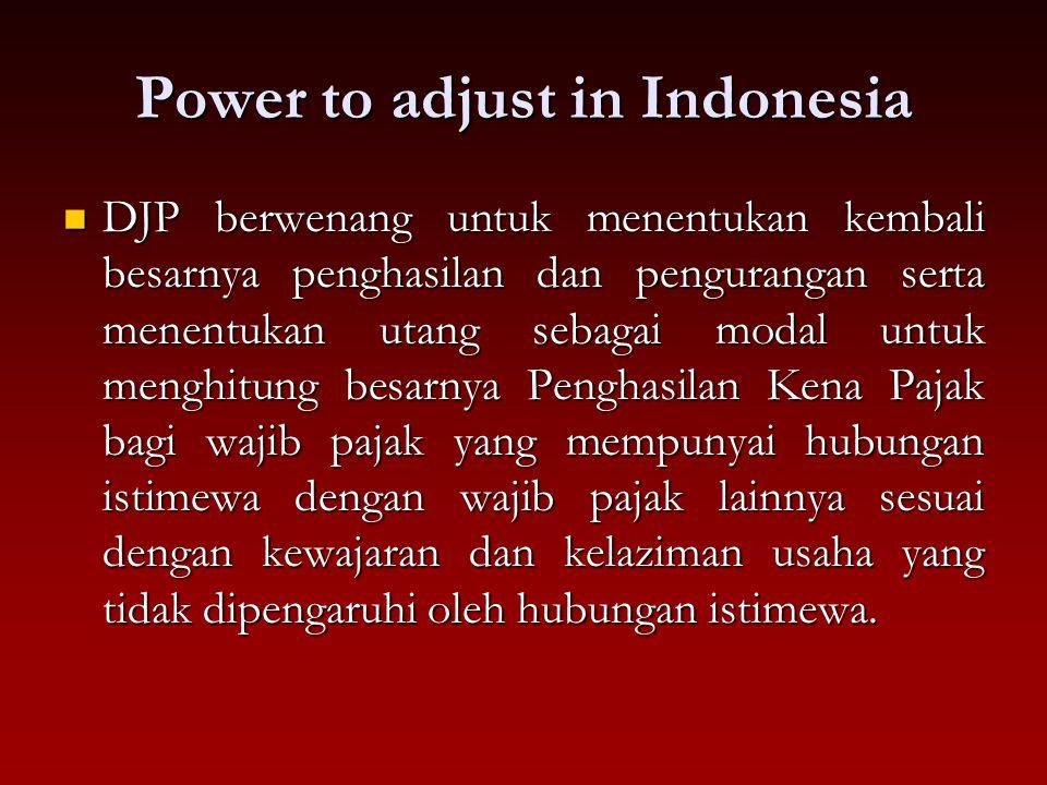 Power to adjust in Indonesia DJP berwenang untuk menentukan kembali besarnya penghasilan dan pengurangan serta menentukan utang sebagai modal untuk me