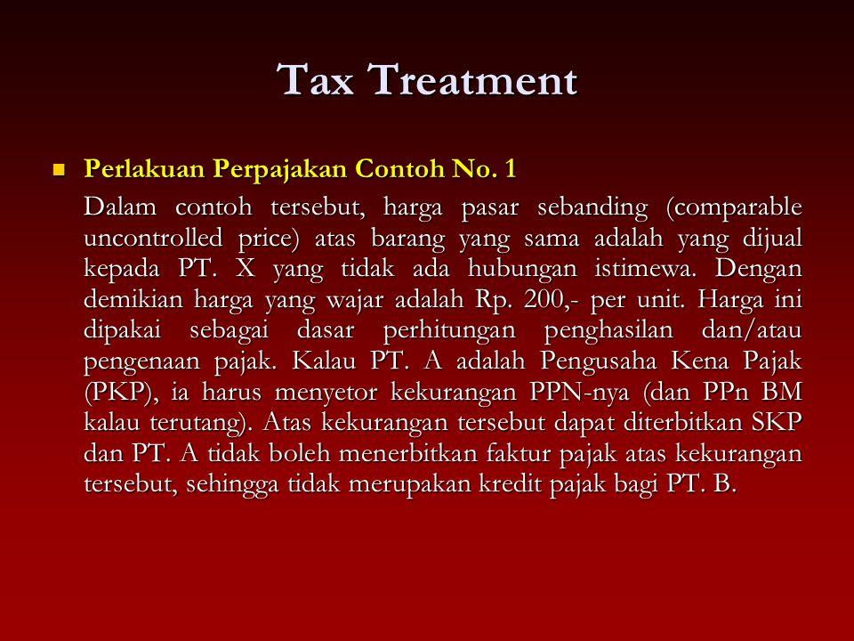 Tax Treatment Perlakuan Perpajakan Contoh No. 1 Perlakuan Perpajakan Contoh No. 1 Dalam contoh tersebut, harga pasar sebanding (comparable uncontrolle