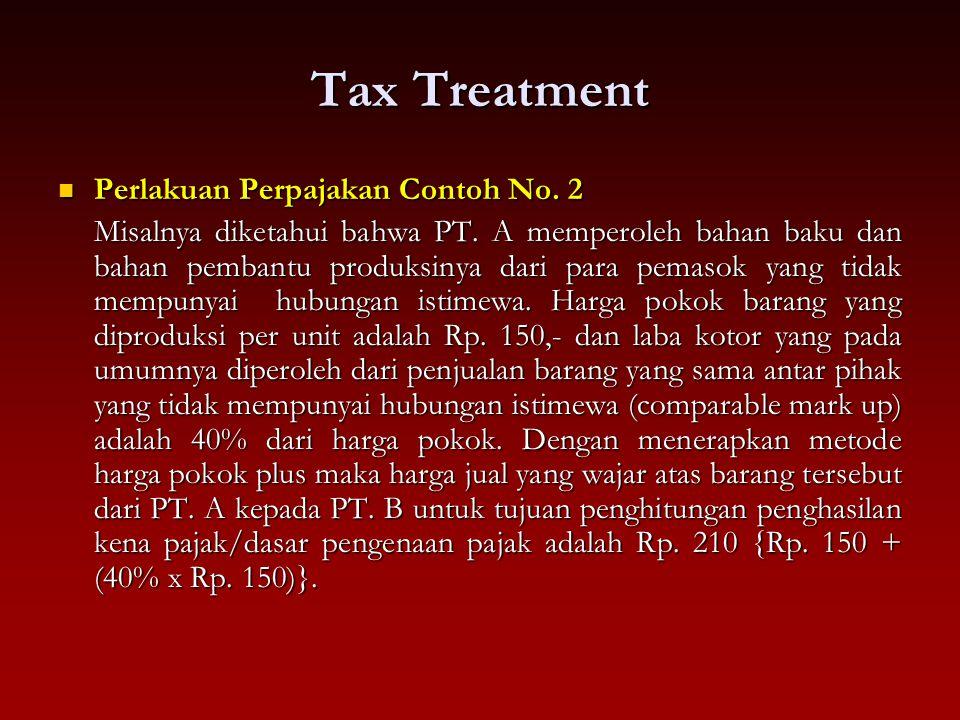 Tax Treatment Perlakuan Perpajakan Contoh No. 2 Perlakuan Perpajakan Contoh No. 2 Misalnya diketahui bahwa PT. A memperoleh bahan baku dan bahan pemba