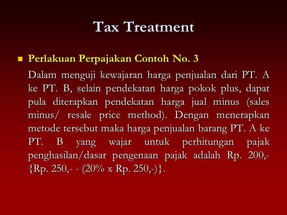Tax Treatment Perlakuan Perpajakan Contoh No. 3 Perlakuan Perpajakan Contoh No. 3 Dalam menguji kewajaran harga penjualan dari PT. A ke PT. B, selain