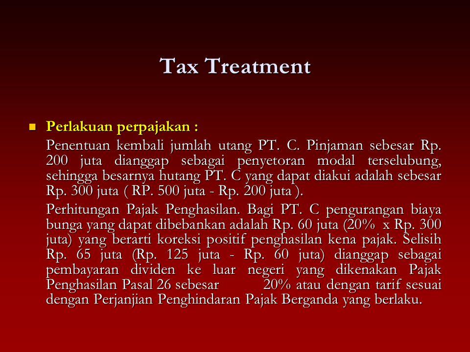 Tax Treatment Perlakuan perpajakan : Perlakuan perpajakan : Penentuan kembali jumlah utang PT. C. Pinjaman sebesar Rp. 200 juta dianggap sebagai penye
