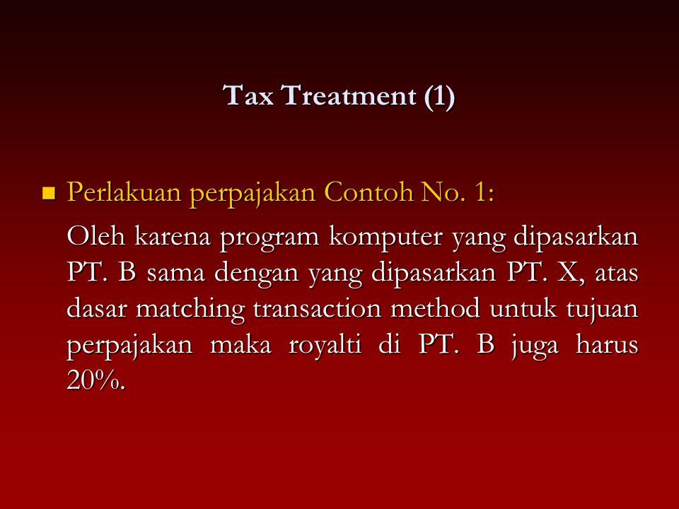Tax Treatment (1) Perlakuan perpajakan Contoh No. 1: Perlakuan perpajakan Contoh No. 1: Oleh karena program komputer yang dipasarkan PT. B sama dengan