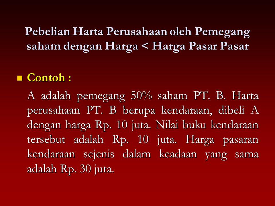 Pebelian Harta Perusahaan oleh Pemegang saham dengan Harga < Harga Pasar Pasar Contoh : Contoh : A adalah pemegang 50% saham PT. B. Harta perusahaan P