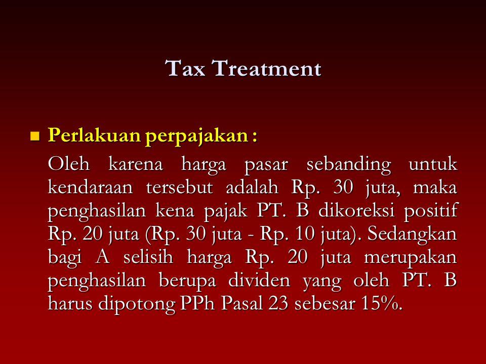 Tax Treatment Perlakuan perpajakan : Perlakuan perpajakan : Oleh karena harga pasar sebanding untuk kendaraan tersebut adalah Rp. 30 juta, maka pengha