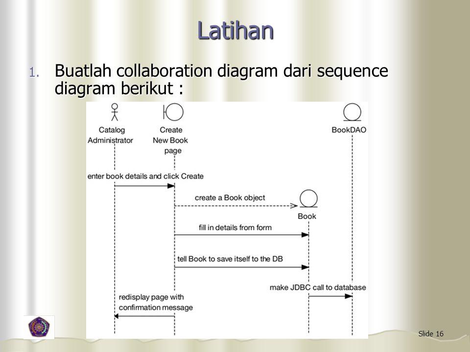 Slide 16 Latihan 1. Buatlah collaboration diagram dari sequence diagram berikut :