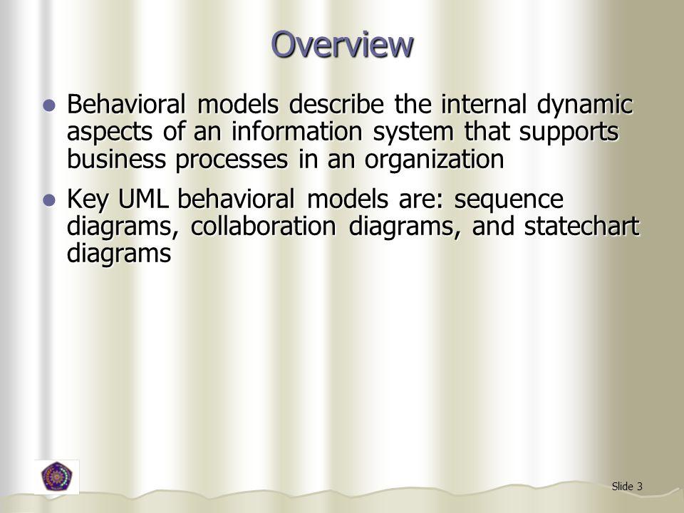 Slide 4 Tujuan Pemodelan Perilaku Menunjukkan kolaborasi objek-objek yang terlibat pada tiap use-case Menunjukkan kolaborasi objek-objek yang terlibat pada tiap use-case Menggambarkan kondisi internal dari proses Menggambarkan kondisi internal dari proses
