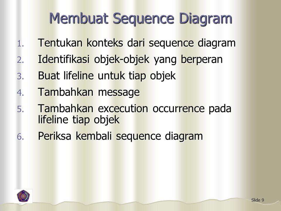 Slide 9 Membuat Sequence Diagram 1. Tentukan konteks dari sequence diagram 2. Identifikasi objek-objek yang berperan 3. Buat lifeline untuk tiap objek