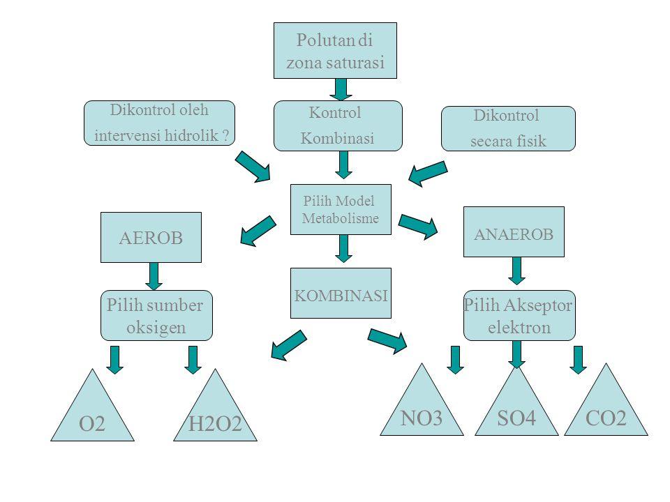 Polutan di zona saturasi Dikontrol oleh intervensi hidrolik ? Dikontrol secara fisik Pilih sumber oksigen Pilih Akseptor elektron AEROB Pilih Model Me