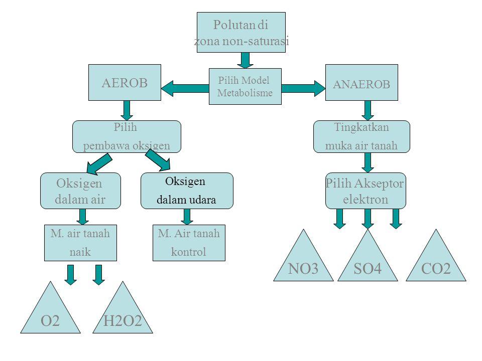 Polutan di zona non-saturasi Pilih pembawa oksigen Tingkatkan muka air tanah Oksigen dalam air Pilih Akseptor elektron AEROB Pilih Model Metabolisme M
