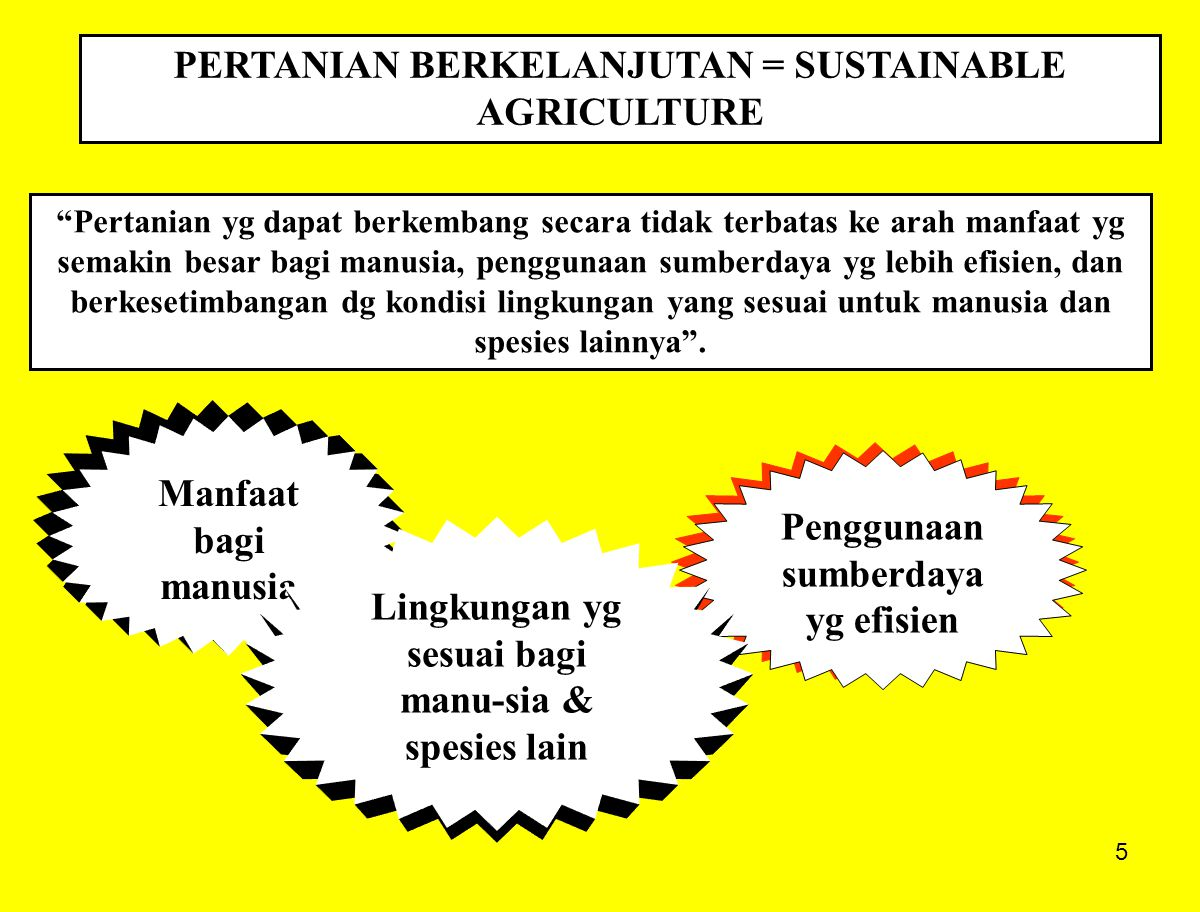 16 KOMPONEN-KOMPONEN SISTEM PERTANIAN BERKELANJUTAN KOMPONEN-KOMPONEN SISTEM PERTANIAN BERKELANJUTAN Pengelolaan Kesuburan Tanah Pergiliran Tanaman Innovative Cropping Systems Bioteknologi & Crop Breeding Bioteknologi & Crop Breeding Integrated Pest Management Integrated Pest Management Weeds Management Conservation Tillage Feedcrop Management Animals Roles