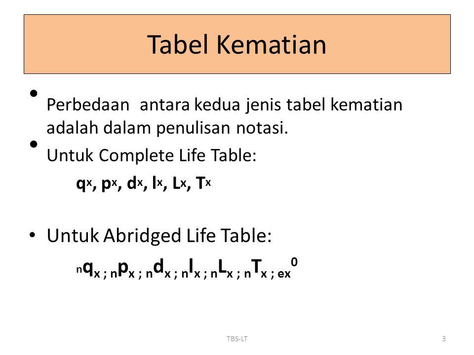 Perbedaan antara kedua jenis tabel kematian adalah dalam penulisan notasi. Untuk Complete Life Table: q x, p x, d x, l x, L x, T x Untuk Abridged Life